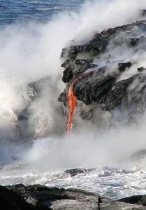 Ocean entry at Kalapana_property of Ben Gaddis-vog-lava