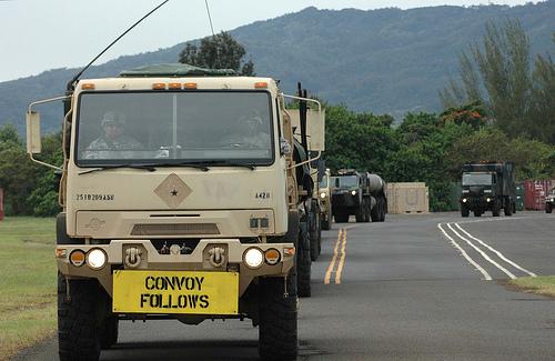 Military convoy from Kawihae Harbor to Pohakuloa Training Area. U.S. Army Garrison-Hawai'i photo.