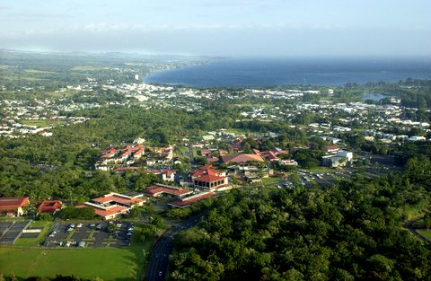 An aerial view of the University of Hawaii at Hilo. File UH-Hilo Courtesy photo.