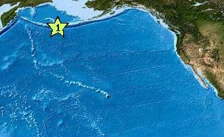 An earthquake that struck in the Aleutians this afternoon failed to generate a Pacific-wide tsunami. USGS image.