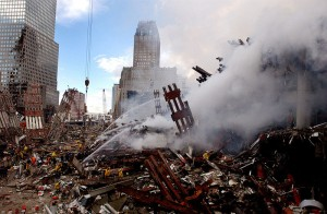 The ruins of the World Trade Center in New York continued to smoulder two days after the attacks. Wikimedia Commons photo.