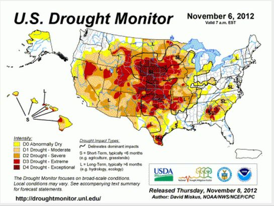 Many areas of Hawaii and the rest of the country are gripped in drought. NOAA image. (Click to enlarge.)