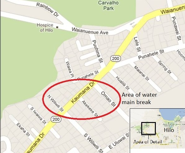 This modified Google Maps image shows the location of last night's water main break (click to enlarge). Big Island Now graphic.