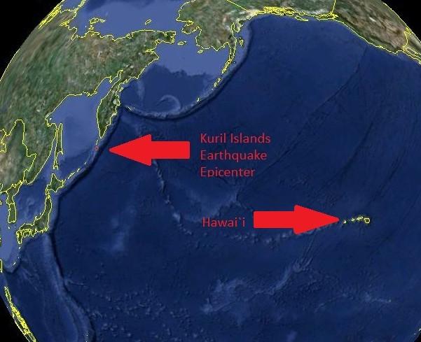 6.4 magnitude earthquake strikes Kuril Islands: 8th major quake in eight days Kuril-quake-map-google-earth1-e1353101805243