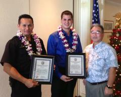 The Hawaii Police Department Announced its  'Officers of the Month' today. Courtesy image.