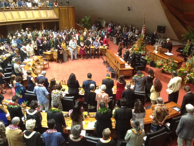 Opening ceremonies for the 2013 Hawaii State Legislature. Photo courtesy of Hawaii News Now.