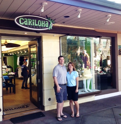 Stephanie and Chris Davis recently opened Cariloha -- a bamboo products store -- at the King's Shops in Waikoloa. Photo courtesy of King's Shops Waikoloa.