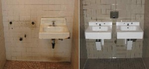 The sinks in the men's bathroom before renovation (left) and after. Photos by Dave Smith.