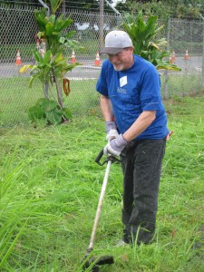 Clinic Manager Skip White took on some weeds at the University of Hawaii at Hilo's Pacific Aquaculture & Coastal Resources Center. Courtesy photo.