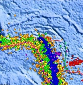This USGS image shows seismic activity in the Santa Cruz Islands since 1990.