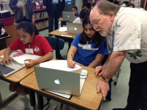 Gov. Neil Abercrombie meeting in February with Keaau Elementary students involved in a digital learning pilot program. File photo.