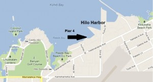The area where Hilo Harbor's new Pier 4 is being developed is shown in this modified Google Maps image. (Click to enlarge.)