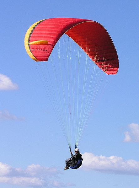 A paraglider. Wikimedia Commons photo.