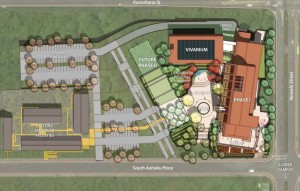 An architect's drawing of the building proposed for the UH-Hilo Daniel K. Inouye College of Pharmacy. Image from the 2008 draft environmental assessment.