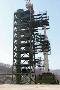 A North Korean test rocket awaits launch.