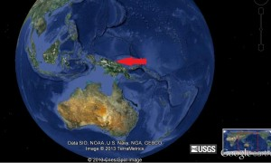 The New Guinea area has been struck by five earthquakes of magnitude 6.5 or greater in the past six weeks. Google Earth image.