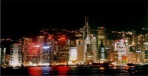 Hong Kong skyline, by night.
