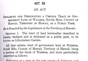 A portion of the legislation that created Liliuokalani Gardens, from the state archives. Courtesy K.T. Cannon-Eger.