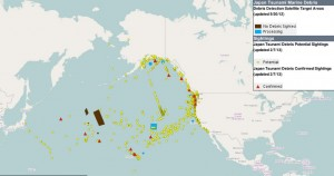 Debris sightings in the Pacific basin as of Feb. 7 (click to enlarge) . Map provided to NOAA by the Coastal Response Research Center at the University of New Hampshire.