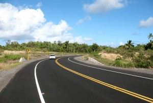The bypasses, like this one around Isaac Kepo'okalani Hale Memorial Park, add a definite modernity to the Red Road. Photo by Dave Smith.