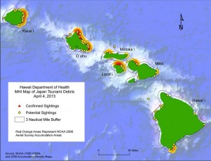 This map shows sightings of confirmed and potential Japanese tsunami debris in Hawaii as of April 4 (click to enlarge). NOAA image.