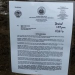 The notice posted Wednesday afternoon by the DLNR . Photo by Dave Smith.