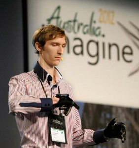 A member of the 2012 worldwide Imagine Cup champion team from the Ukraine demonstrates the winning application during the finals held last year in Australia. Microsoft photo.