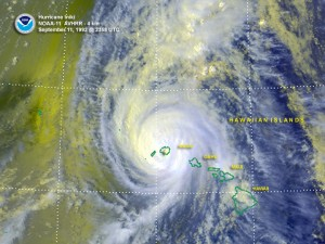 Hurricane Iniki, which made landfall on Kauai on Sept. 11, 1992, caused $3 billion in damage in today's dollars. NOAA image.