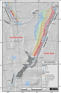 The convergence of tectonic plates is shown in this USGS image (click to enlarge).