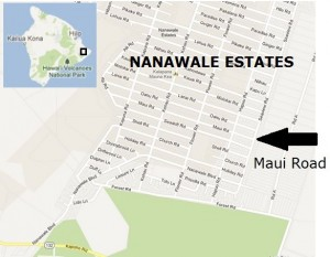 Police said the shooting occurred on Maui Road in the Nanawale Estates subdivision. Modified Google Maps image.