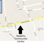 The police department will hold a community meeting at the Na`alehu Community Center on May 21. Modified Google Maps image.