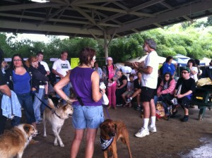 Attendees at last year's Bark For Life listen to a demonstration given by Carl O'Guss, director of the East Hawaii Dog Psychology Center. Photo credit Denise Laitinen.