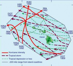 Tracks of storms in the area of Hawaii from 1949-1997. University of Hawaii image.