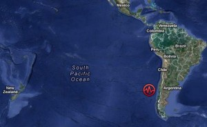 The location of last night's earthquake 350 miles off the coast of Chile. USGS/Google Maps image.
