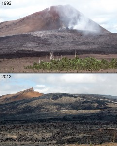 Changes in Pu`u `O`o over a 20-year span. USGS photos.