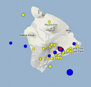 This map from HVO shows recent earthquakes in the area of the Big Island. Bigger circles indicate stronger quakes. Yellow ones occurred up to two weeks ago, blue ones within the past two days and the red one, which had a magnitude of 2.0, happened at 3:49 p.m. today.