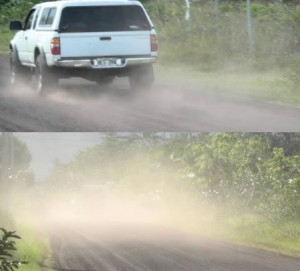 These images from a report by HPP's Fugitive Dust Committee show the difference in dust generation on the same stretch of roadway by a vehicle traveling less than 20 mph (top) and one traveling faster.