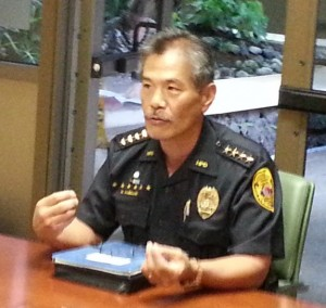 Police Chief Harry Kubojiri speaking on June 21 before the Hawaii County Police Commission. Photo by Dave Smith.