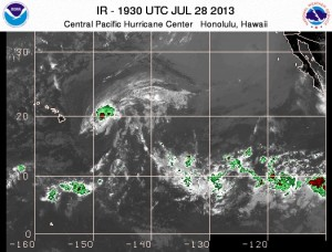 This satellite image from the National Weather Service taken at 9:30 a.m. Sundayshowed Flossie east-northeast of the Big Island.