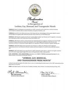 Gov. Abercrombie LGBT Pride Month Proclamation.