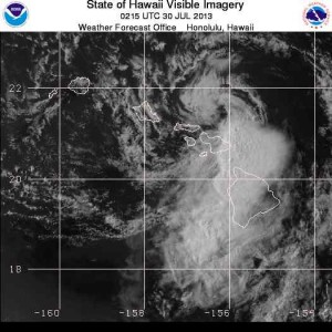 The remnants of Tropical Storm Flossie can be seen threatening Maui in this National Weather Service satellite photograph taken at 4:15 p.m.