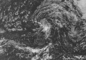 This view of Flossie's splitting cells taken from a satellite covering the Central Pacific show the broad area of moisture heading toward the Big Island. NWS image.
