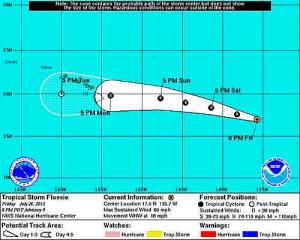 This graphic from the National Weather Service shows Flossie's expected track.