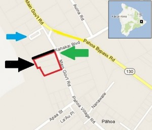 This modified Google Map image shows the location of the new Pahoa shopping center (black arrow), the existing Malama Marketplace (blue arrow) and the proposed signal light for the extension of Kahakai Boulevard (green arrow). The black line represents the proposed extension of Kahakai Boulevard.