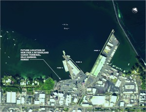 This aerial image shows where the new Pier 4 will be in relation to existing Hilo Harbor facilities (click to enlarge). Courtesy image.