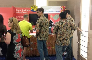 Members of Team Poliahu set up their booth at the Imagine Cup in St. Petersburg, Russia. Courtesy photo.
