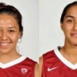 Konawaena graduates Dawnyelle Awa (left) and Lia Galdeira (right) will return to the islands in November to play Hawai`i. WSU photo.