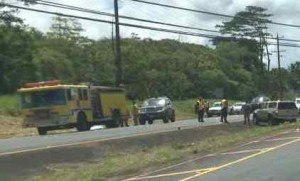 Police investigate the fatal crash that occurred Friday on Highway 11 near Keaau. Staff photo.