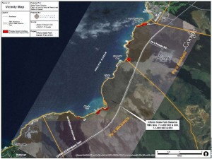 Location of private holdings (in red) and other coastline features are shown. Image from Kiholo State Park Pre-Final Master Plan and Draft Environmental Assessment.