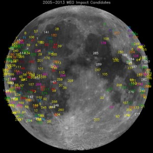 This NASA image shows the locations of meteroid flashes on the moon detected over the past eight years.